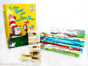 Dr Seuss Jenga game next to Dr. Seuss books