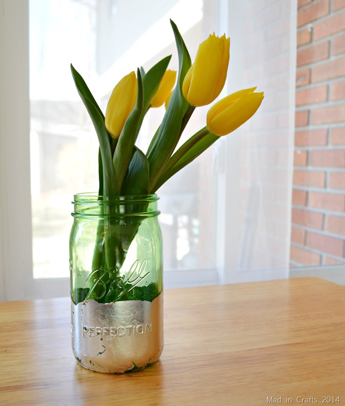 Gilded Mason Jar Vase