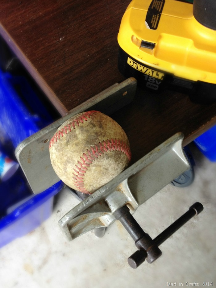 Baseball in clamp