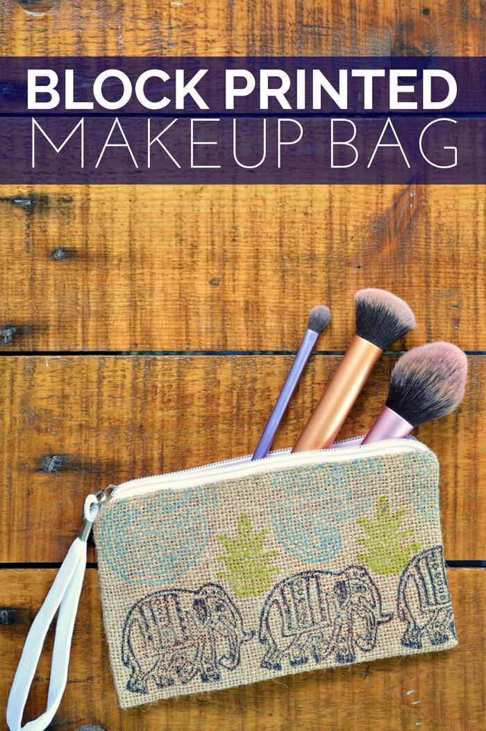 DIY Block Printed Makeup Bag - Mad in Crafts