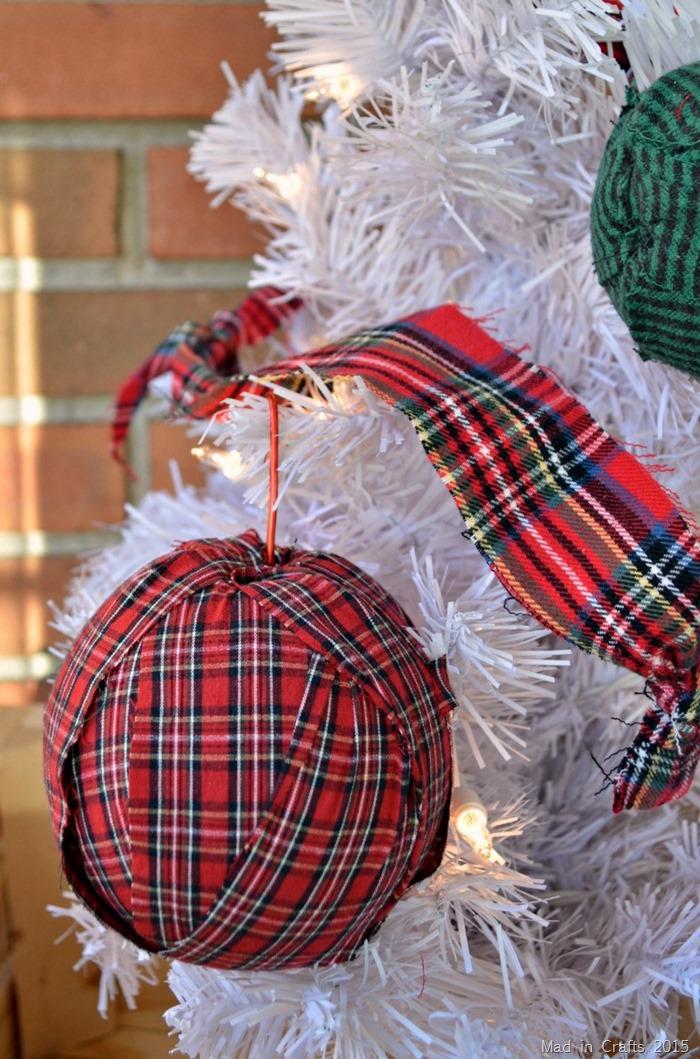 simple plaid rag ornaments