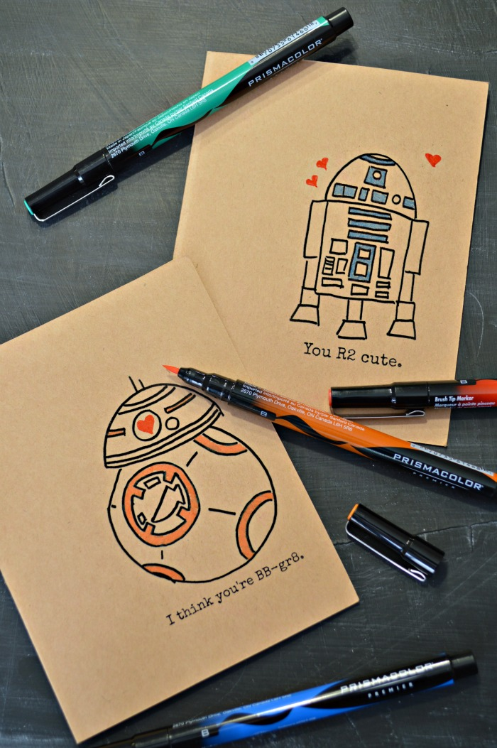 hand-drawn and colored Star Wars graphics with pens
