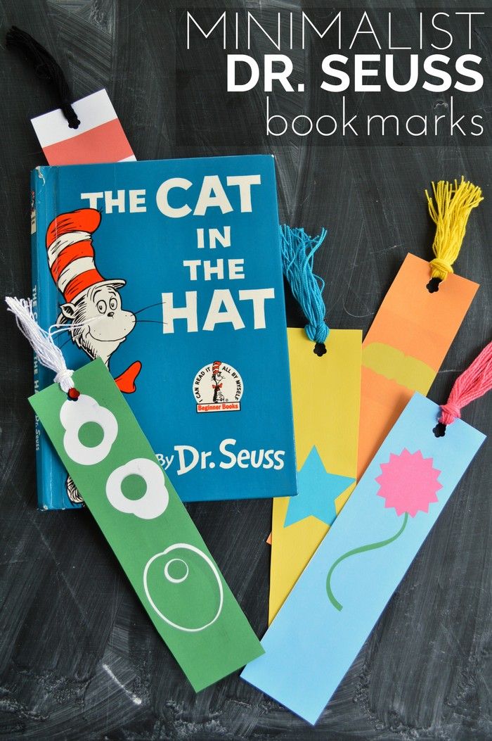 A copy of The Cat in the Hat and Dr. Seuss bookmarks