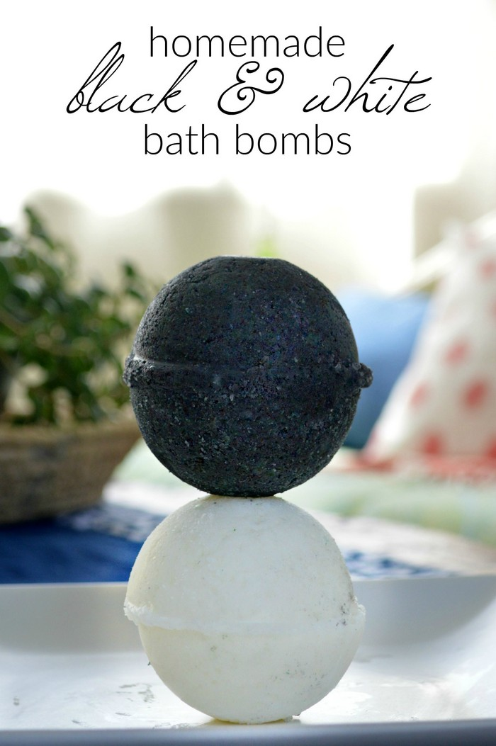 white and black DIY bath bombs on a tray