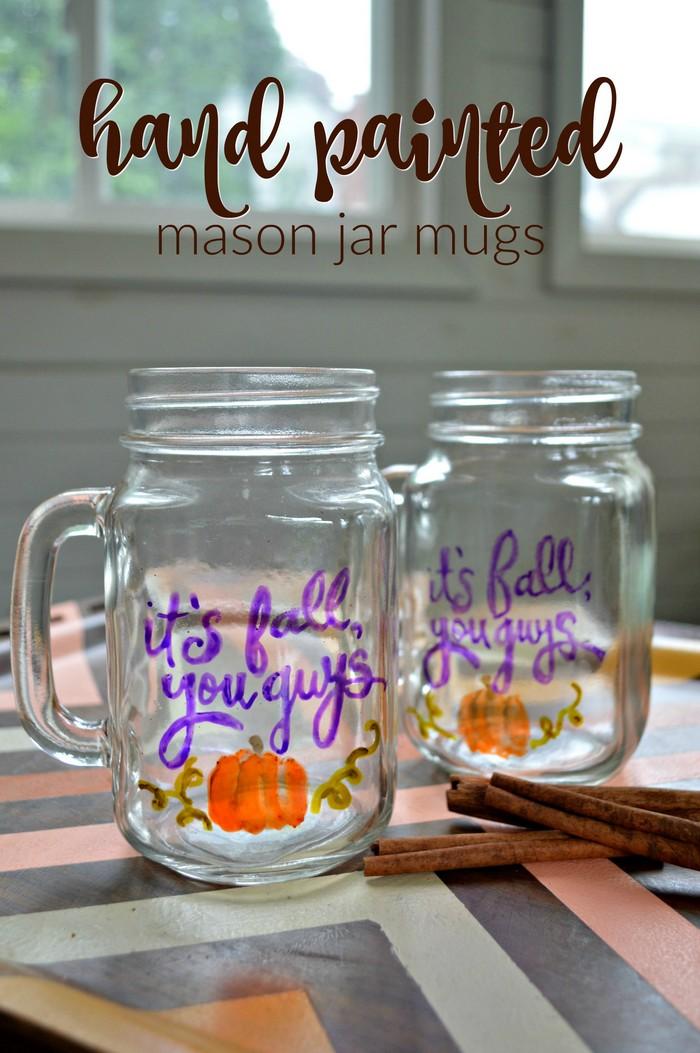 Hand Painted Mason Jar Mugs for Fall