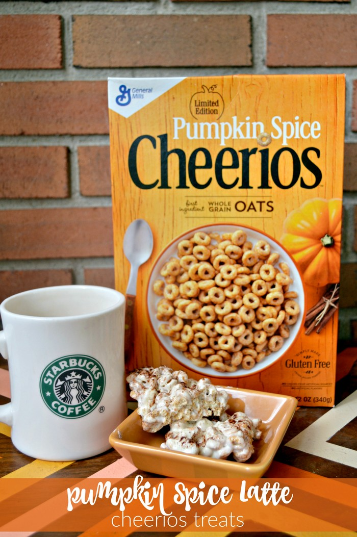 box of pumpkin spice cheerios, coffee mug, and cheerios treats