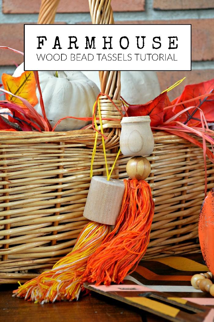 FARMHOUSE WOOD AND THREAD TASSELS