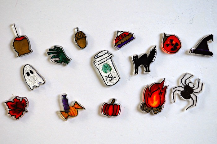 halloween shrink plastic pins on a white background