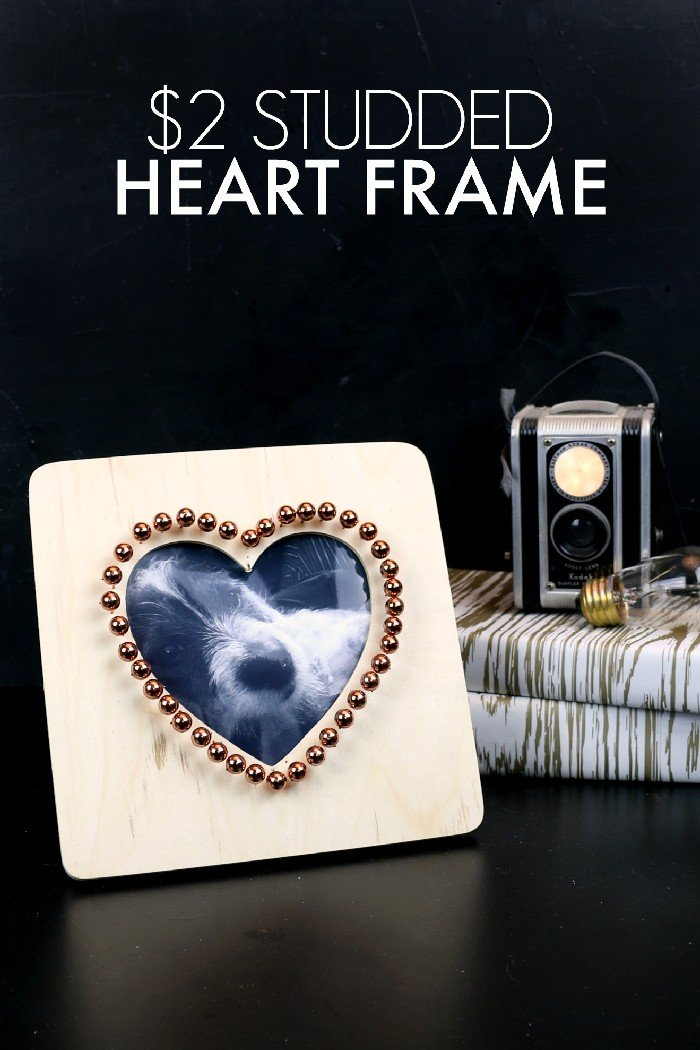 COPPER STUDDED HEART FRAME
