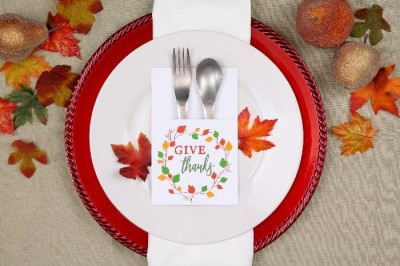 fall table setting with printable utensil holder
