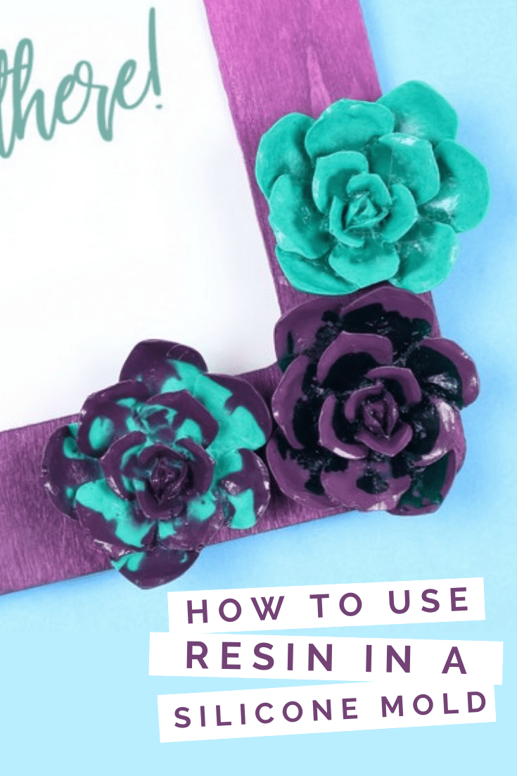 Purple and teal flower embellishments made of resin