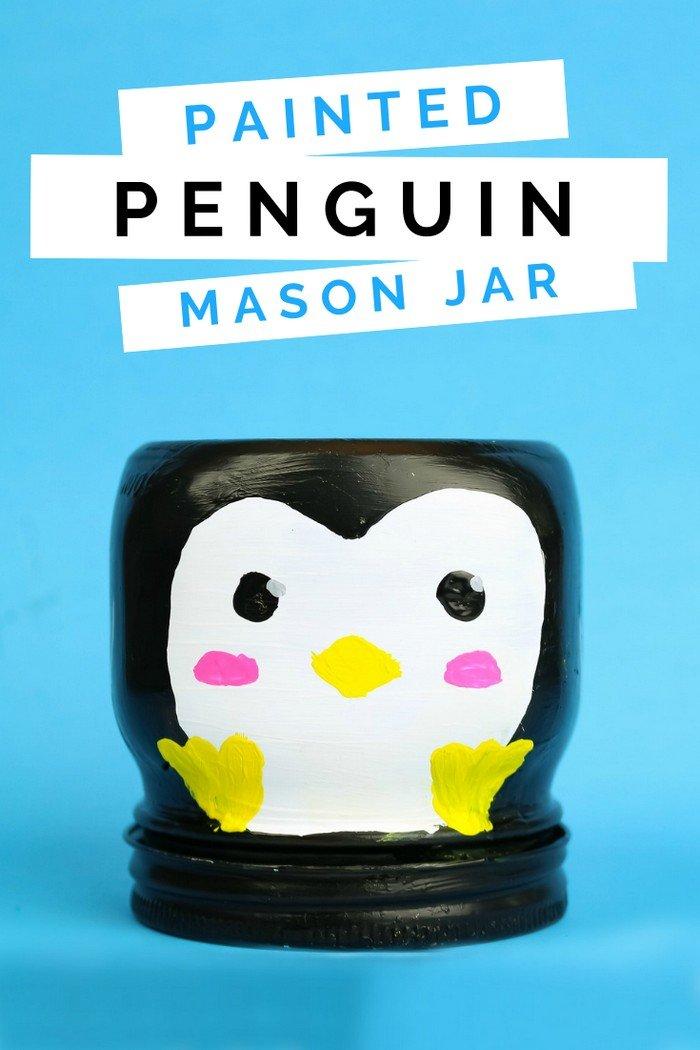 PAINTED PENGUIN MASON JAR