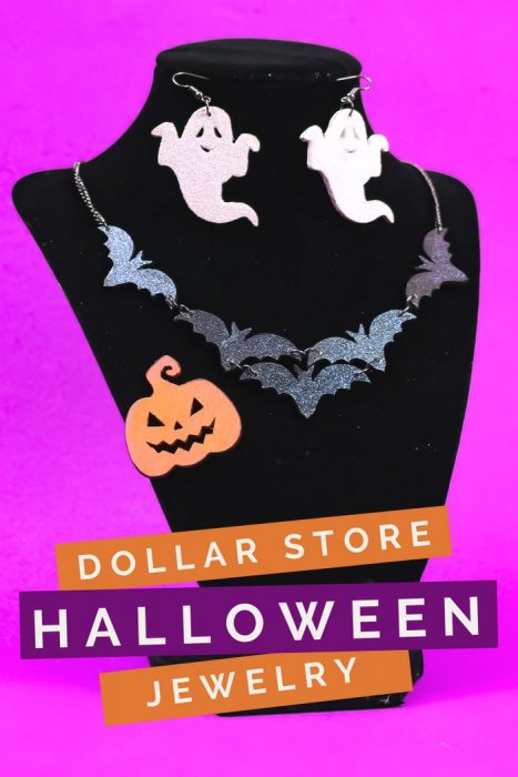 DIY Halloween jewelry on a jewelry stand on a purple background