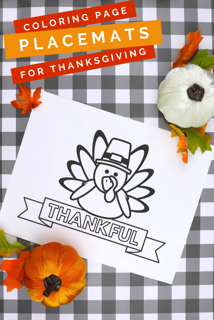 Thanksgiving coloring page printable on a plaid background with pumpkins