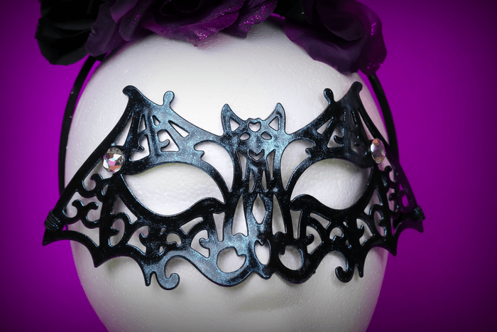 halloween bat mask on a foam head