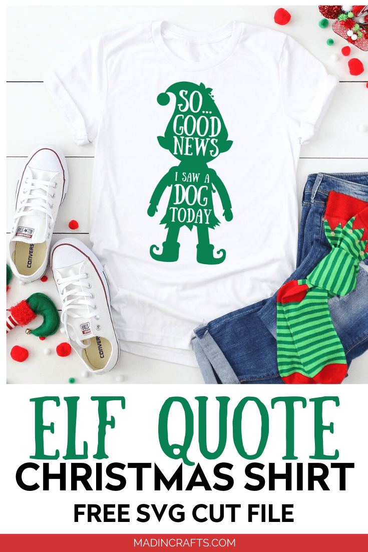 Elf quote SVG design on a t-shirt with jeans and striped socks