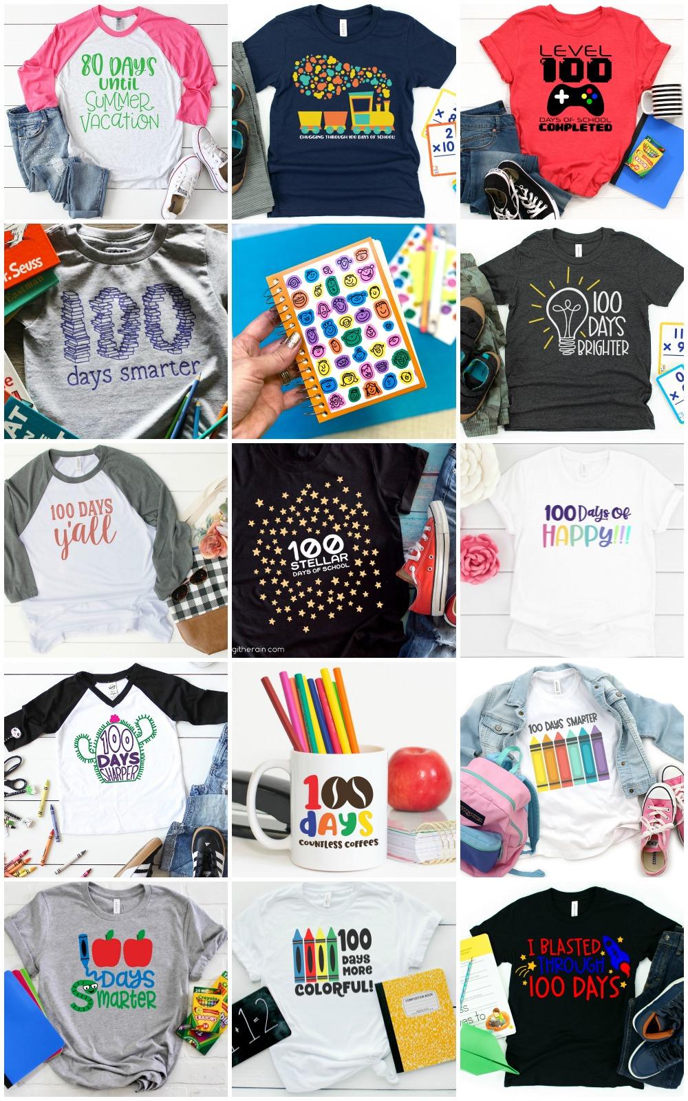collage of 100 Days of school SVG designs