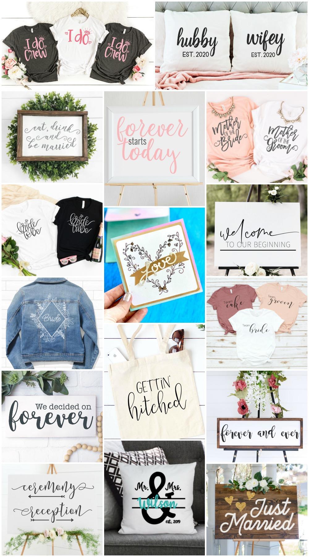 collage of wedding SVG designs
