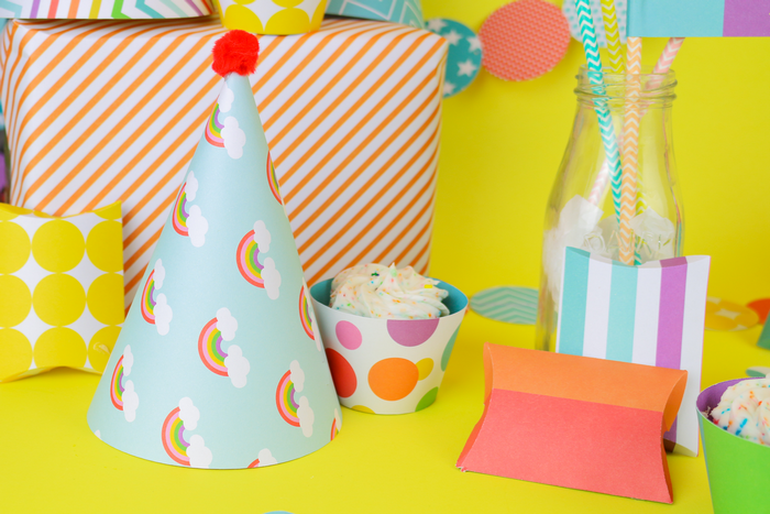 colorful paper party supplies