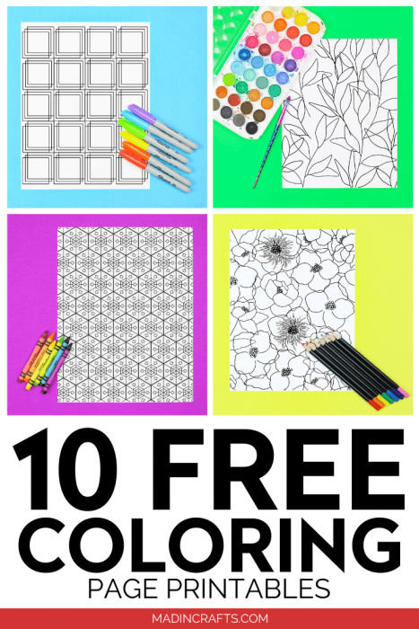 Collage of Free coloring pages on colorful backgrounds