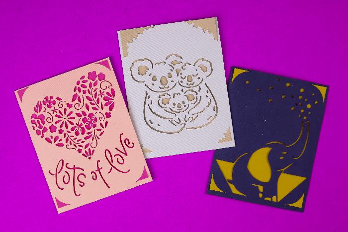 Cricut Insert Cards on a purple background