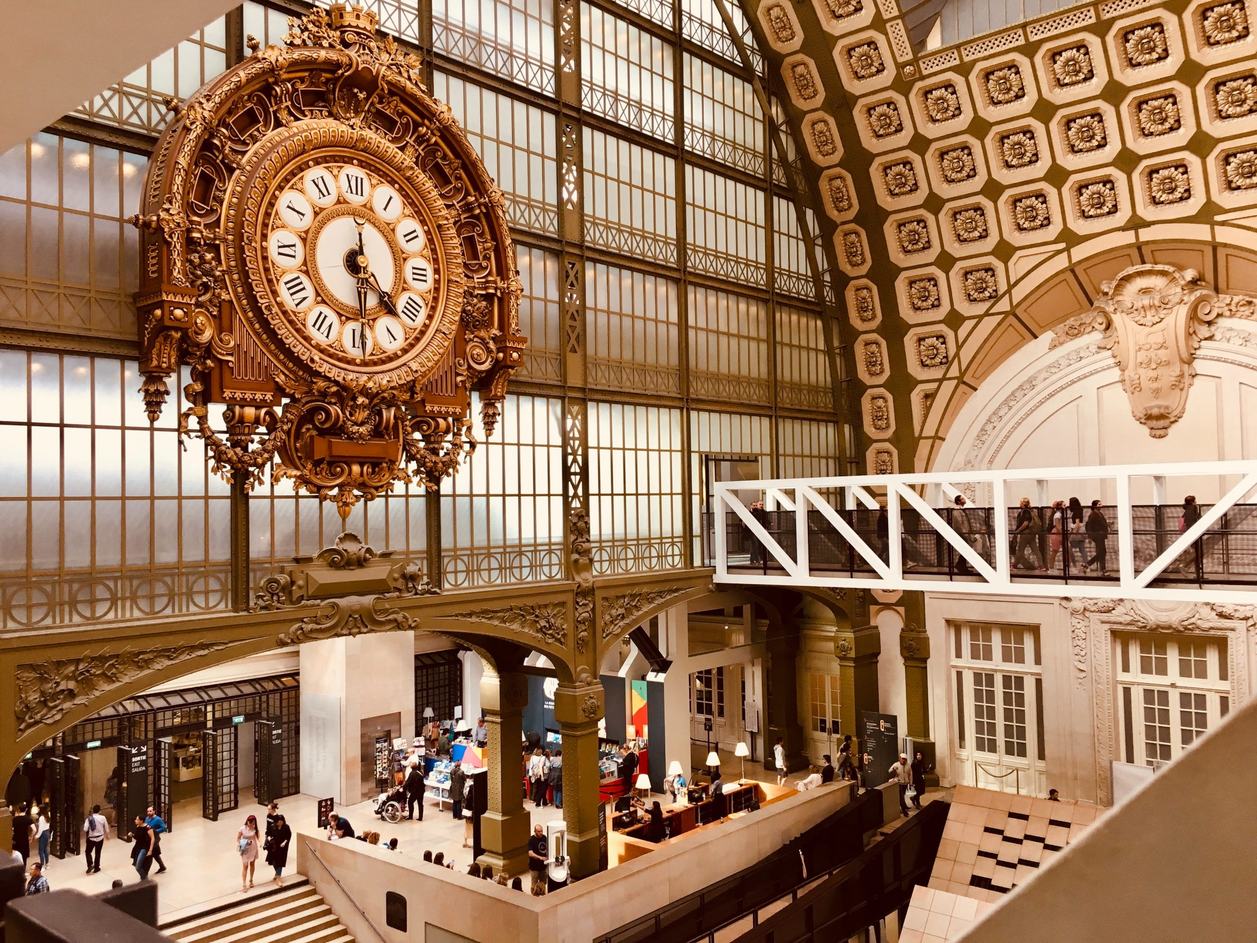 A large clock in a train station