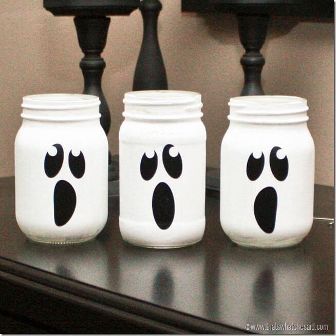 3 ghost painted mason jars