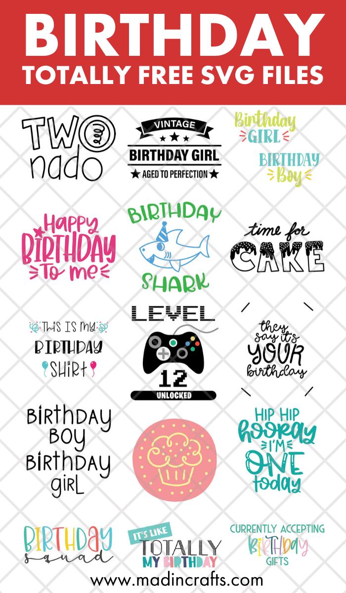 collage of birthday svg files