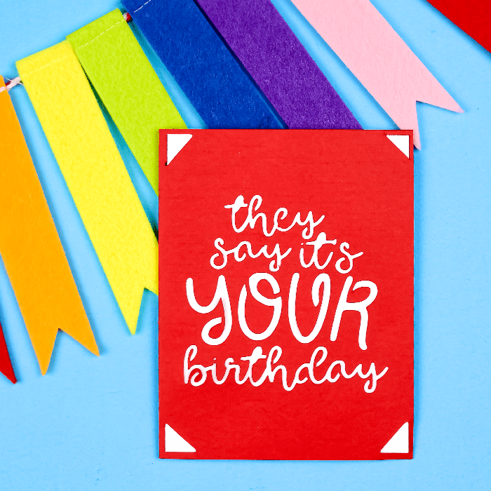 Cricut Joy Birthday card with colorful bunting on a blue background