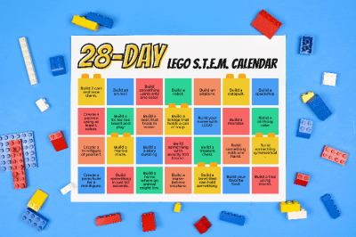 Printable STEM calender on a blue background with LEGO pieces