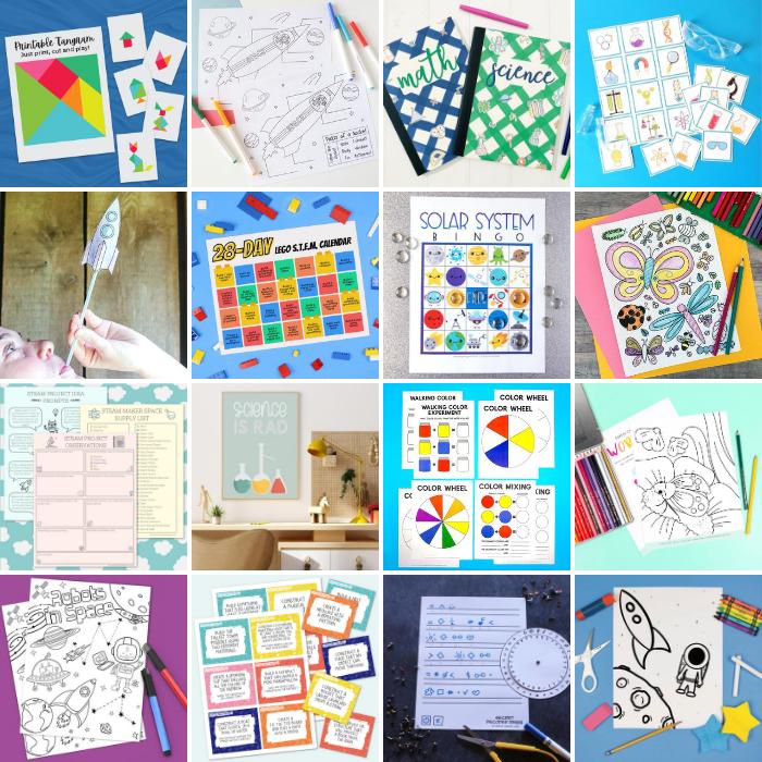 collage of free STEM printables