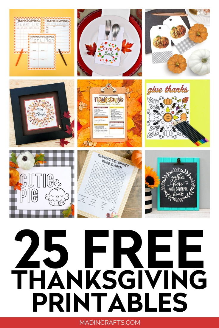 collage of printable thanksgiving crafts
