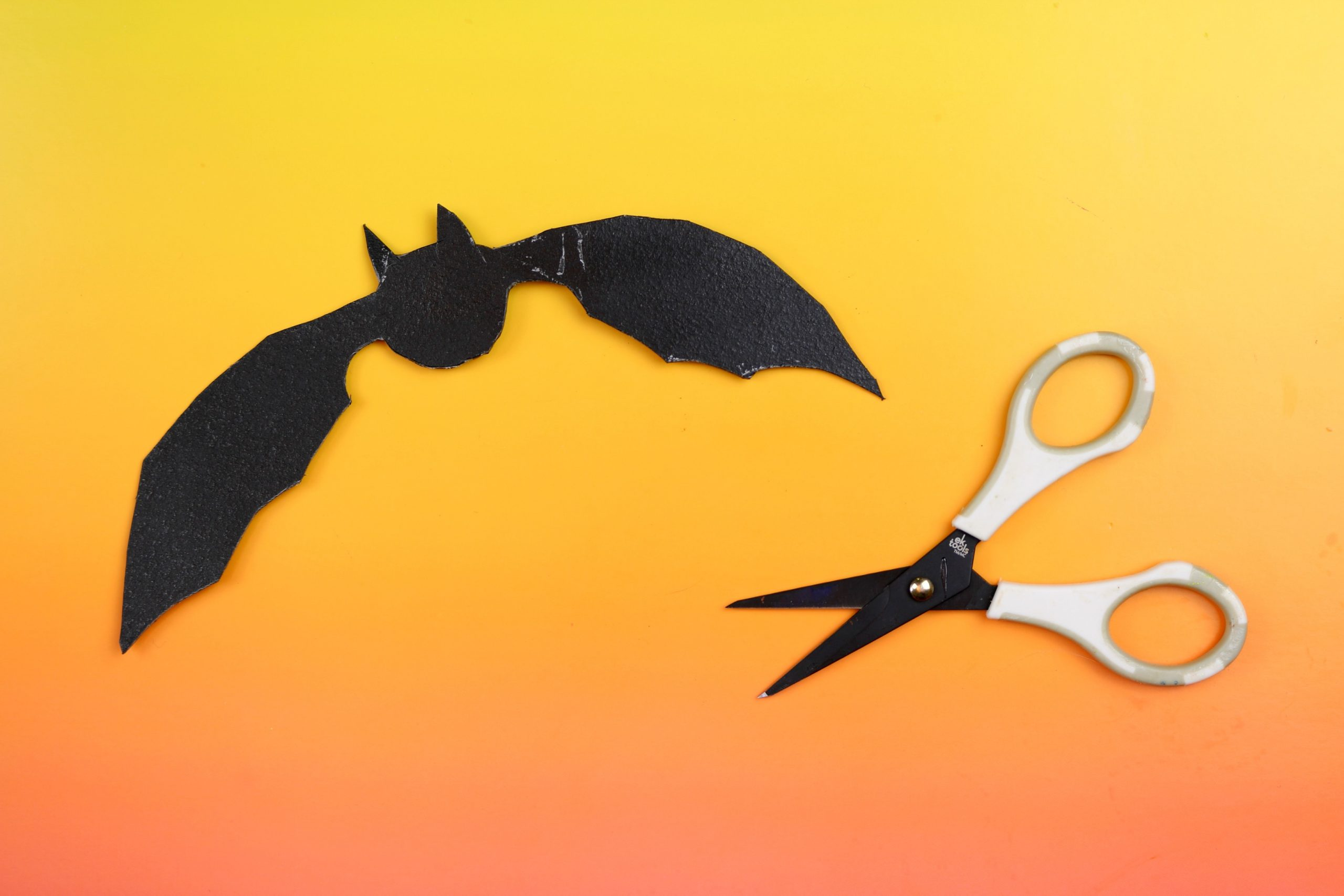 black bat shape cut out of worlba plastic and scissors