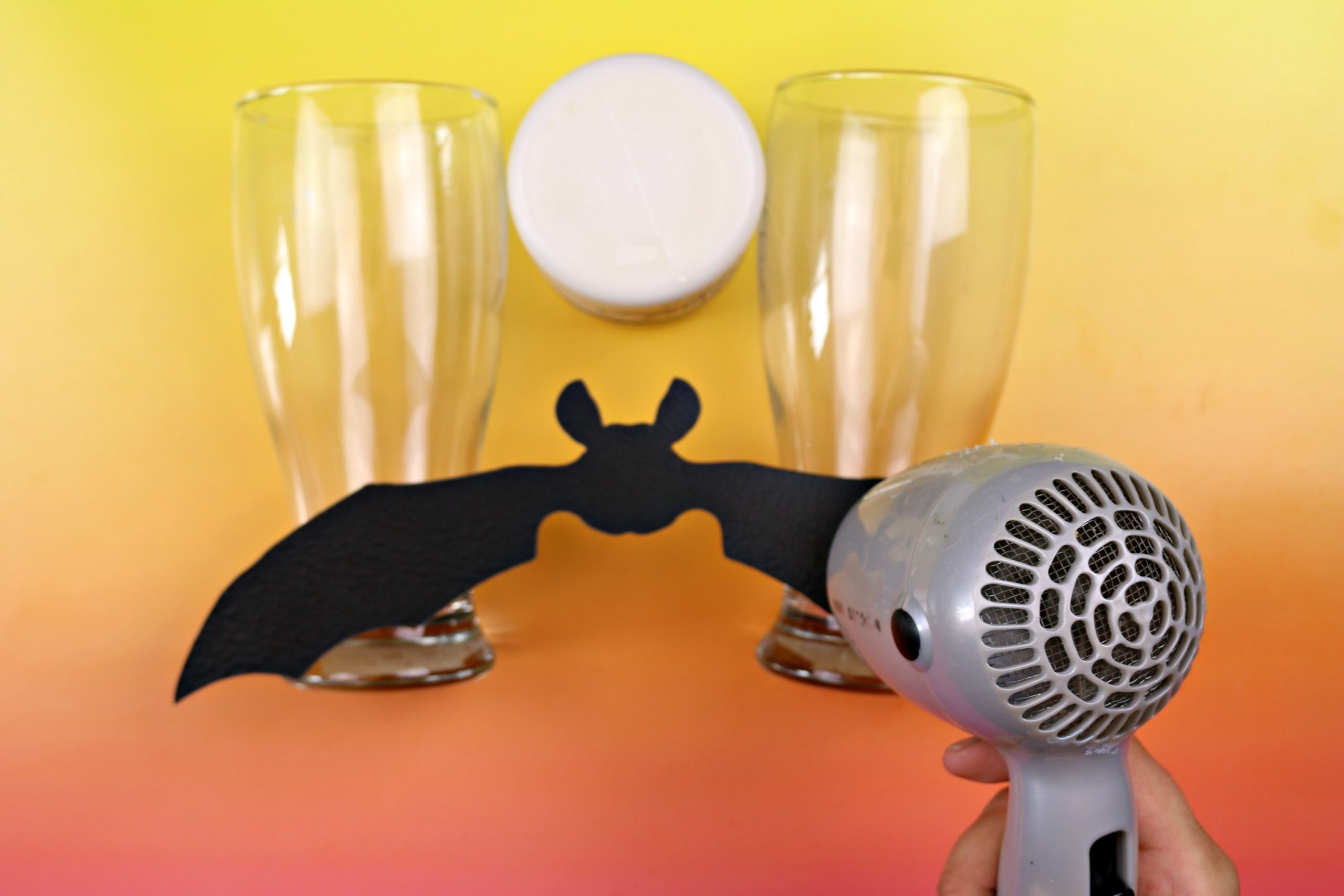 black bat shape cut out of worbla plastic glasses and hair dryer