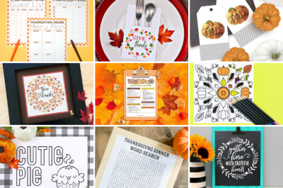 collage of thanksgiving printable crafts