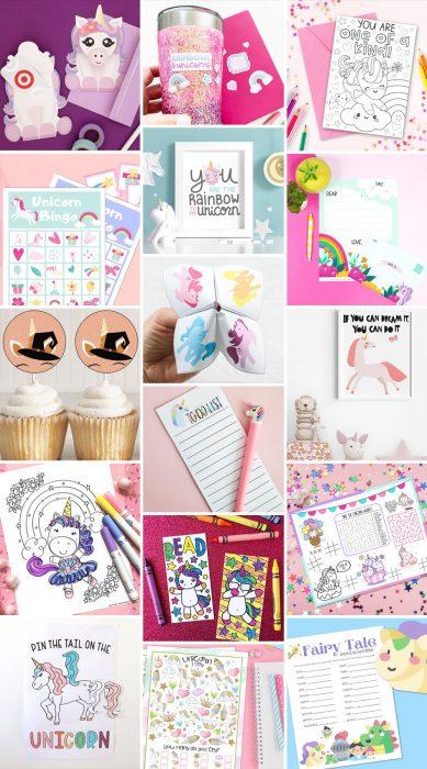Collage of Unicorn printable crafts