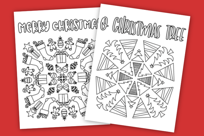 Christmas coloring pages on a red background