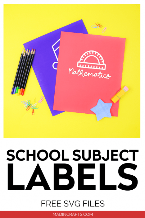 School subject SVG designs on colorful folders on a yellow background