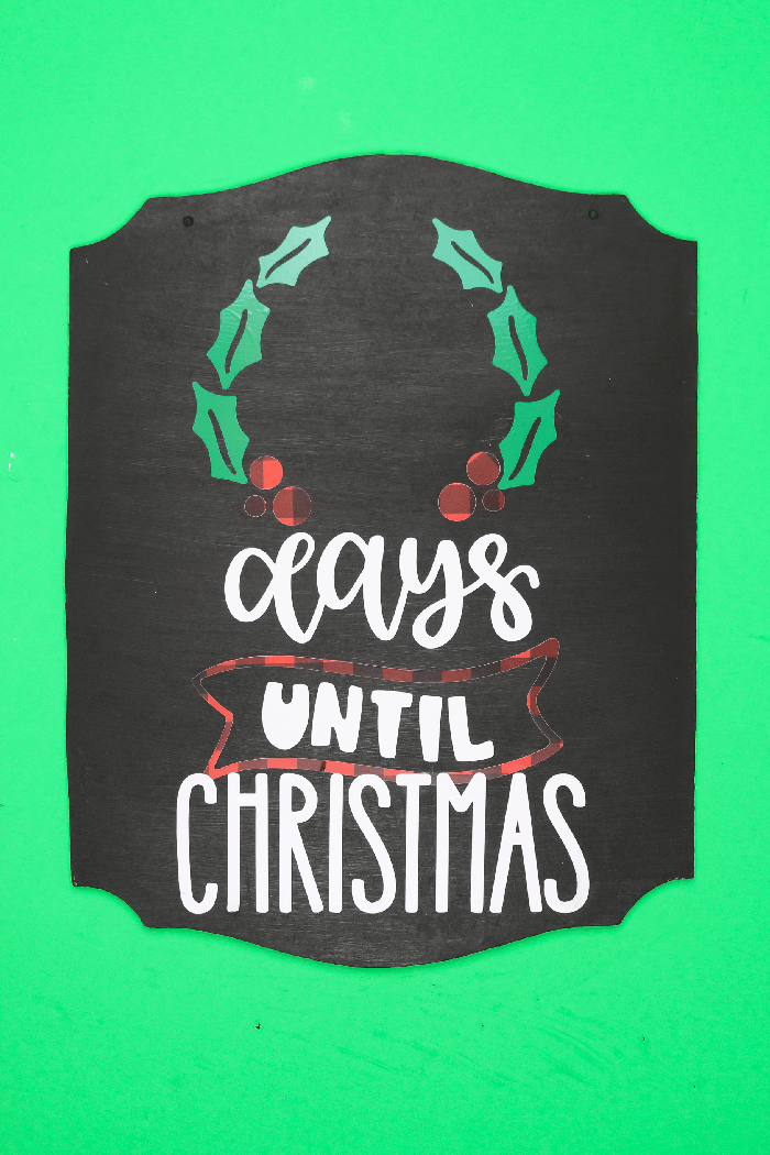 Chalkboard Days until Christmas sign on a green background
