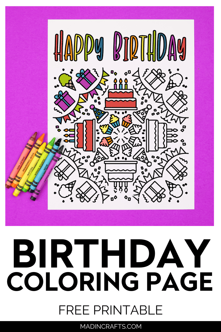 Birthday coloring page on purple background