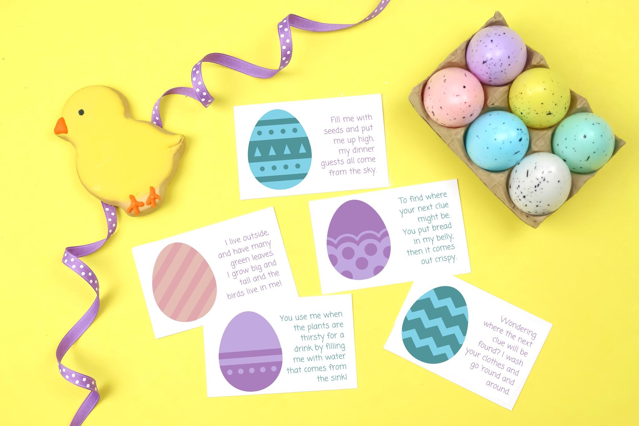 Easter scavenger hunt cards, ribbon, and easter eggs
