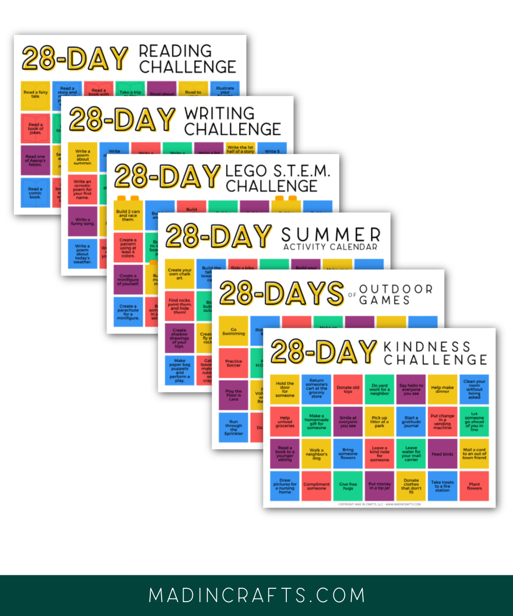 collage of printable kids activity calendars