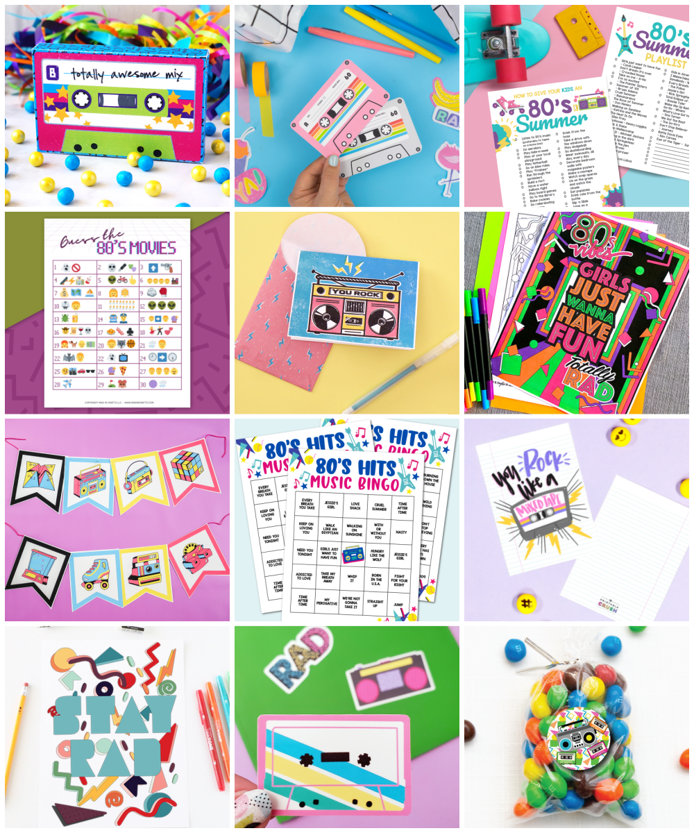 collage of free 80s printables