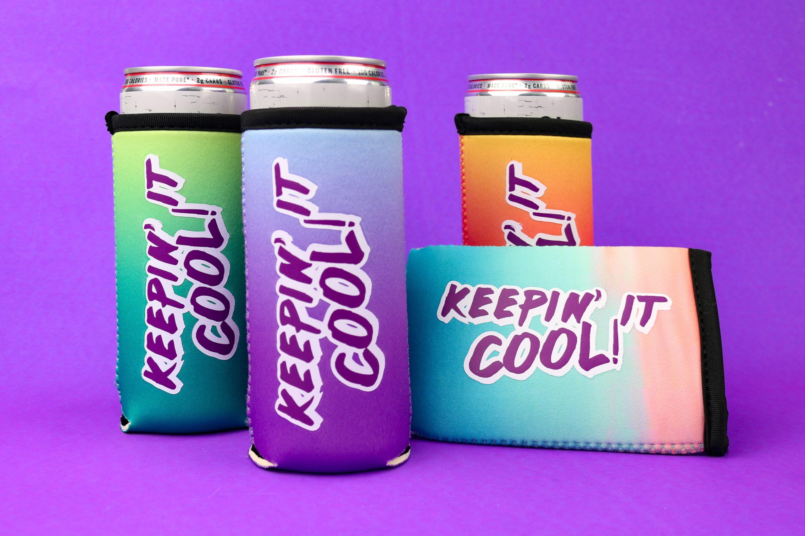 Slim can koozies that say Keepin' It Cool!