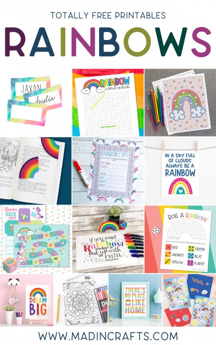 collage of rainbow printables