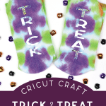tie dyed socks with TRICK and TREAT in glitter vinyl on a white background