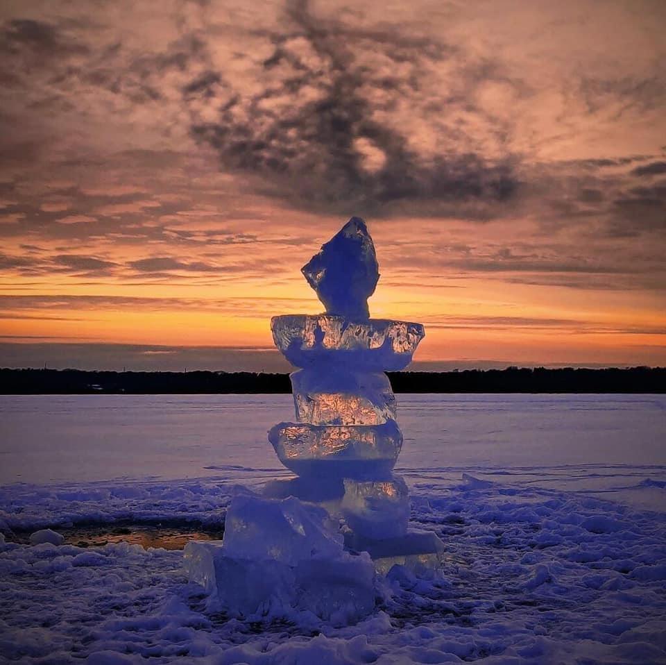 Ice Sculture on Lake Mendota