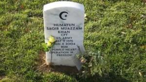 Khan is buried at Arlington Cemetery in Virginia