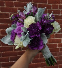 Bouquet Of Purple Florigene Carnations Ivory Roses