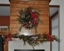 Natural Faux Garland And Wreath Fireplace